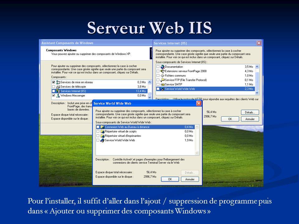 Serveur Web IIS Pour linstaller, il suffit daller dans lajout / suppression de programme puis dans « Ajouter ou supprimer des composants Windows »