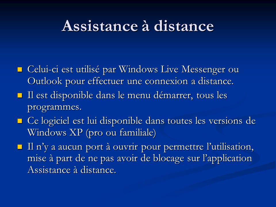 Assistance à distance Celui-ci est utilisé par Windows Live Messenger ou Outlook pour effectuer une connexion a distance. Celui-ci est utilisé par Win