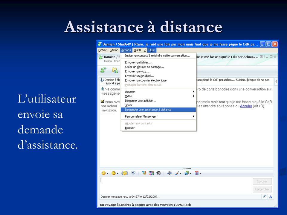 Assistance à distance Lutilisateur envoie sa demande dassistance.