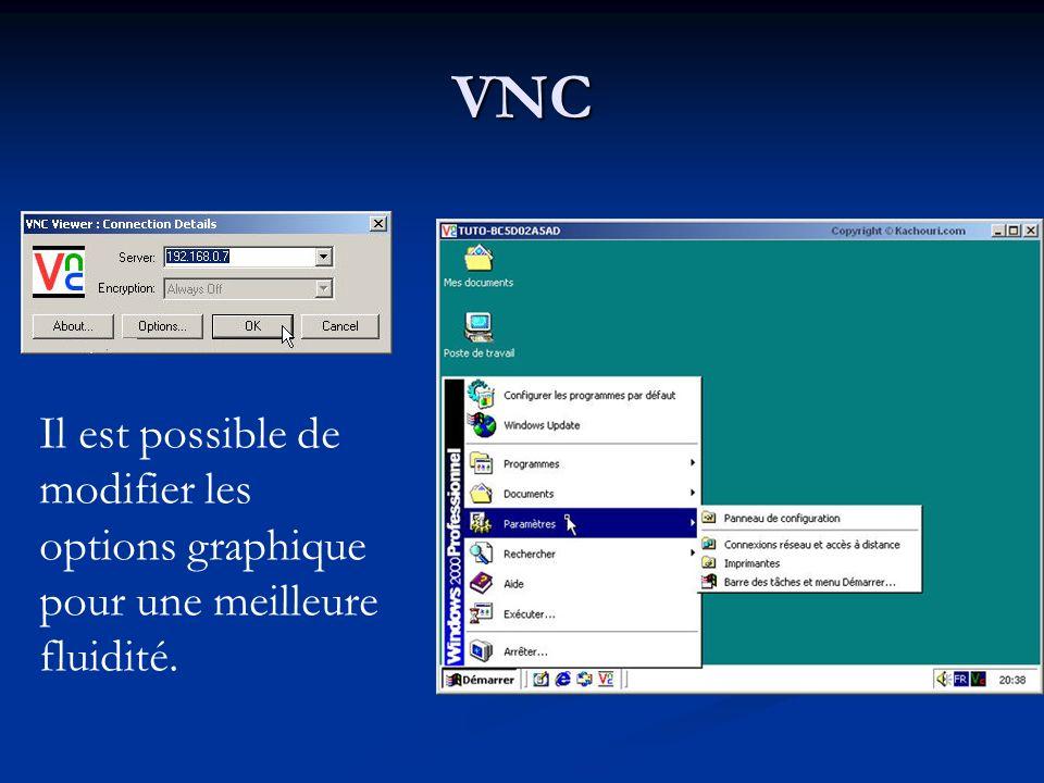 VNC Il est possible de modifier les options graphique pour une meilleure fluidité.
