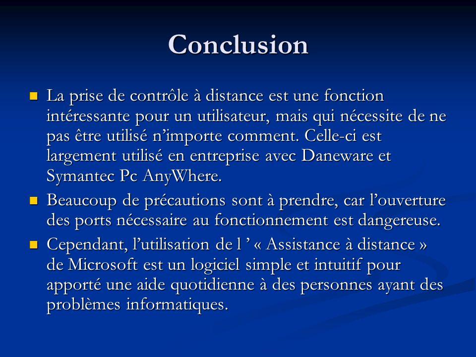 Conclusion La prise de contrôle à distance est une fonction intéressante pour un utilisateur, mais qui nécessite de ne pas être utilisé nimporte comme