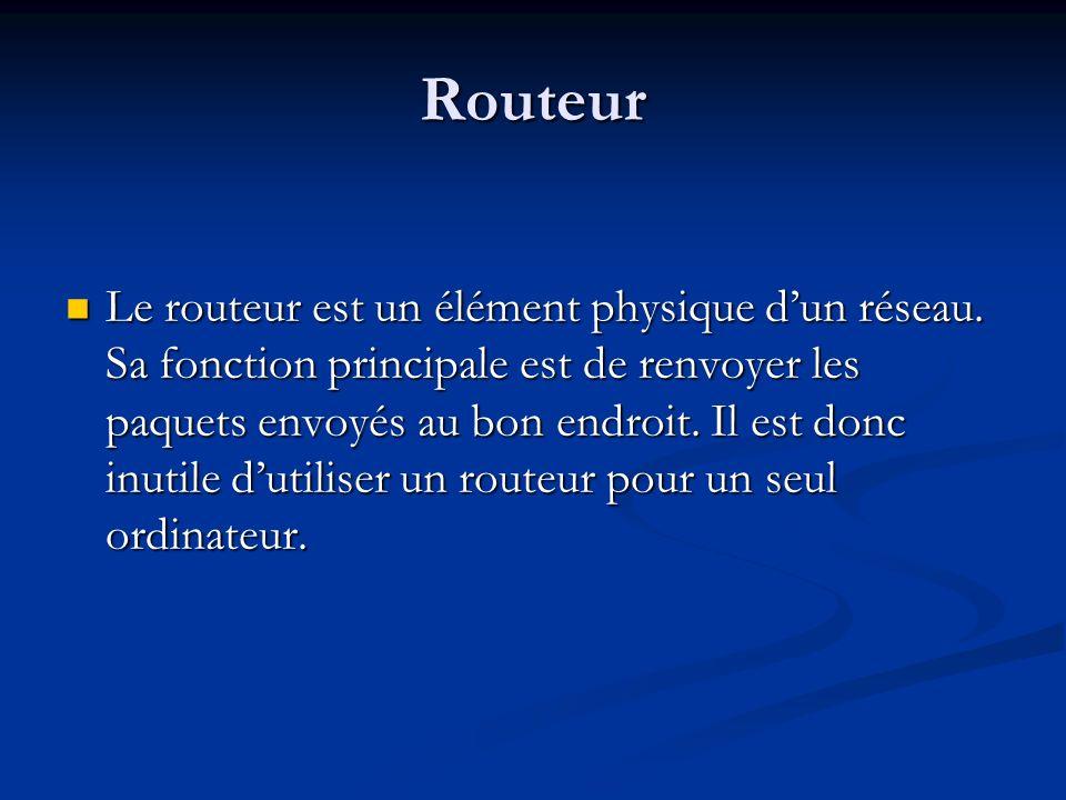 Routeur Le routeur est un élément physique dun réseau. Sa fonction principale est de renvoyer les paquets envoyés au bon endroit. Il est donc inutile