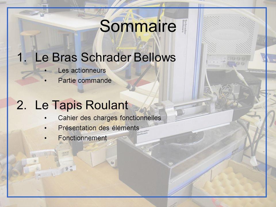Sommaire 1.Le Bras Schrader Bellows Les actionneurs Partie commande 2.Le Tapis Roulant Cahier des charges fonctionnelles Présentation des éléments Fon