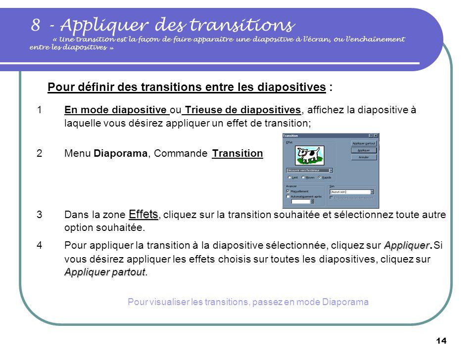 13 … Animer une diapositive Pour créer rapidement une animation simple, sélectionnez l'objet à animer (en mode diapositive), cliquez sur le menu diapo