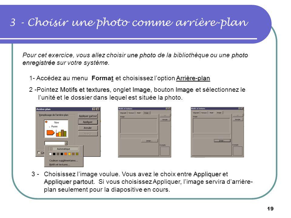 18 2- Choisir une mise en page automatique Création de la première diapositive Vous aurez le choix entre une diapositive vide, une liste à puces et un