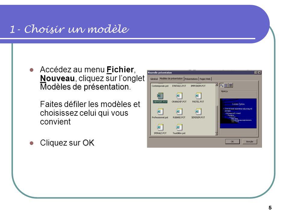 4 Contenu Créer une présentation contenant deux diapositives Choisir un modèle de conception Appliquer la mise en page de la diapositive Enregistrer v