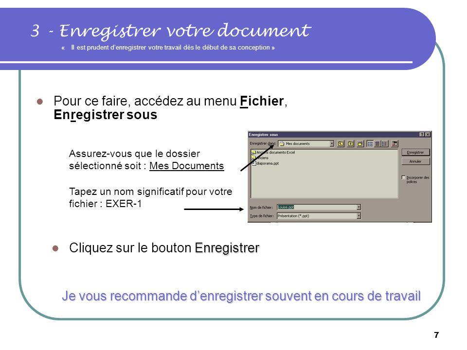 6 2- Choisir une mise en page automatique et insérer une première diapositive Vous aurez le choix entre une diapositive vide, une liste à puces et une