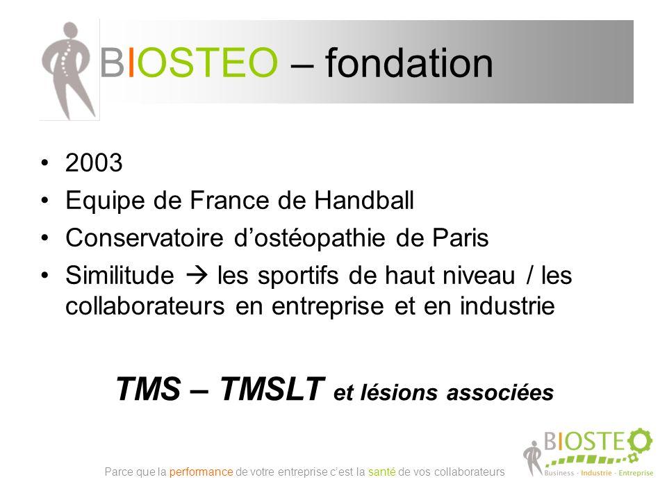 BIOSTEO – fondation 2003 Equipe de France de Handball Conservatoire dostéopathie de Paris Similitude les sportifs de haut niveau / les collaborateurs en entreprise et en industrie Parce que la performance de votre entreprise cest la santé de vos collaborateurs TMS – TMSLT et lésions associées