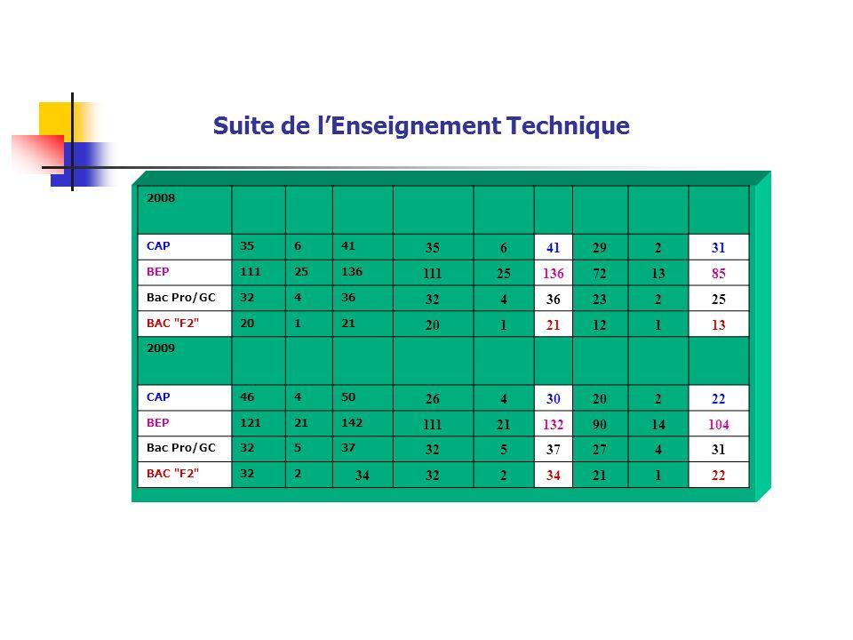 Suite de lEnseignement Technique 2008 CAP35641 3564129231 BEP11125136 11125136721385 Bac Pro/GC32436 3243623225 BAC