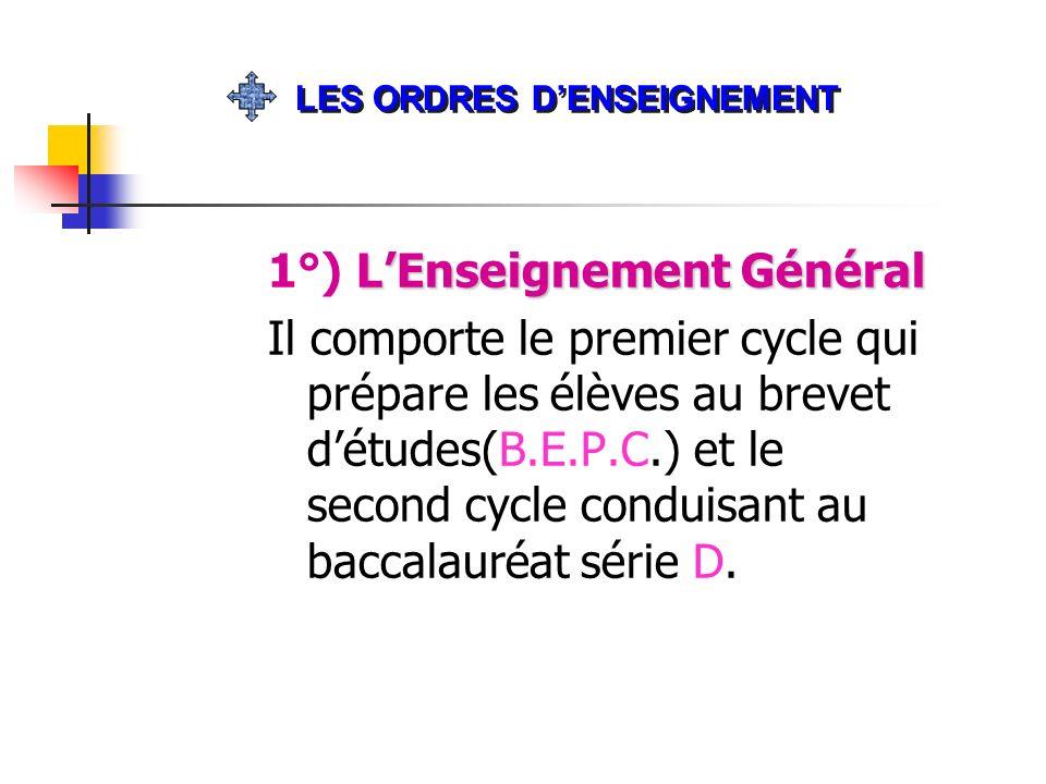 LEnseignement Général 1°) LEnseignement Général Il comporte le premier cycle qui prépare les élèves au brevet détudes(B.E.P.C.) et le second cycle con