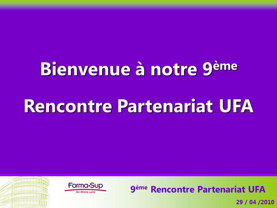 9 ème Rencontre Partenariat UFA 29 / 04 /2010 Bienvenue à notre 9 ème Rencontre Partenariat UFA