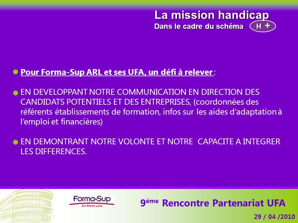 9 ème Rencontre Partenariat UFA 29 / 04 /2010 La mission handicap Dans le cadre du schéma H Pour Forma-Sup ARL et ses UFA, un défi à relever : EN DEVE