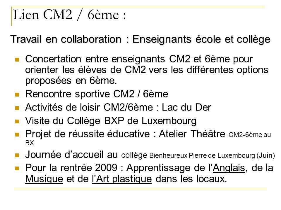 Lien CM2 / 6ème : Concertation entre enseignants CM2 et 6ème pour orienter les élèves de CM2 vers les différentes options proposées en 6ème.