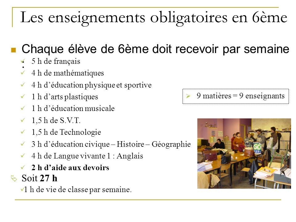 Chaque élève de 6ème doit recevoir par semaine : Les enseignements obligatoires en 6ème 5 h de français 4 h de mathématiques 4 h déducation physique et sportive 1 h darts plastiques 1 h déducation musicale 1,5 h de S.V.T.