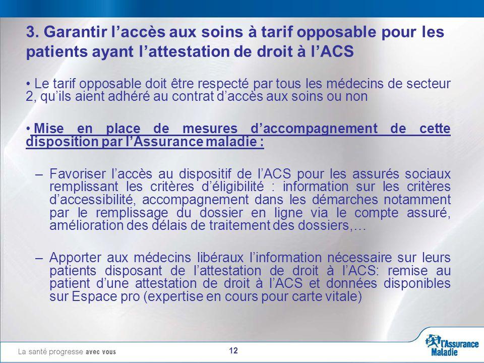 12 3. Garantir laccès aux soins à tarif opposable pour les patients ayant lattestation de droit à lACS Le tarif opposable doit être respecté par tous