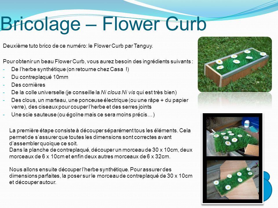 Bricolage – Flower Curb Deuxième tuto brico de ce numéro: le Flower Curb par Tanguy. Pour obtenir un beau Flower Curb, vous aurez besoin des ingrédien