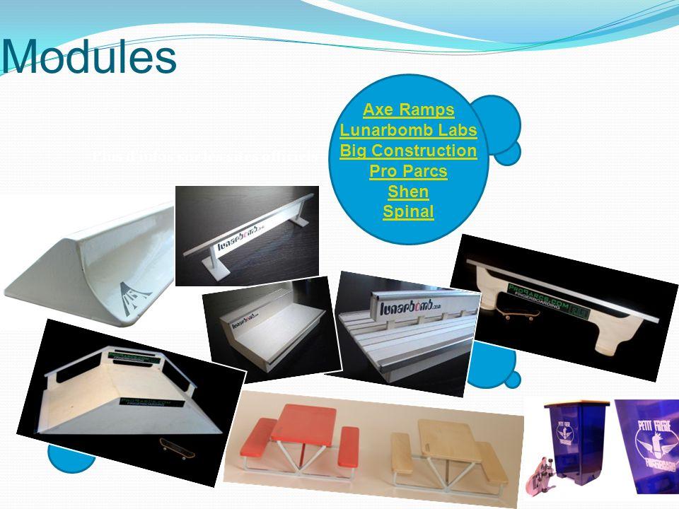 Modules Axe Ramps Lunarbomb Labs Big Construction Pro Parcs Shen Spinal Plus dinfos sur les sites officiels