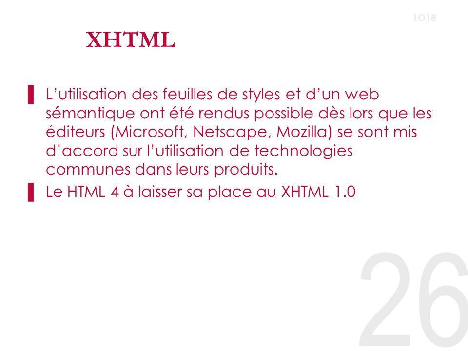 XHTML –Il offre une séparation complète du fond et de la forme, la page ne contenant que du contenu balisé de manière sémantique, ces zones et balises étant mises en pages grâce à une feuille de style (CSS).