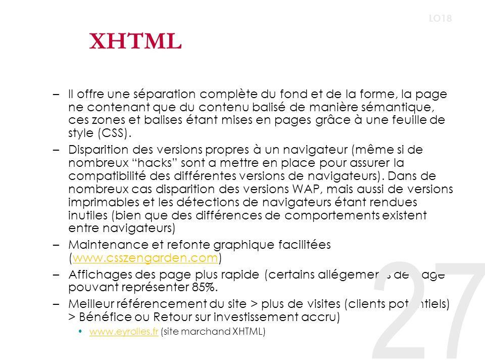 Strict ou Transitionnel XHTML transitionnel –Adapté au navigateur « non-conforme » –Transition dhabitude de conception de page (la mise en page xhtml impose au concepteur de revoir sa manière de travailler, ce qui nest pas instantané tout comme le passage à des navigateurs standards du côté de lutilisateur final.