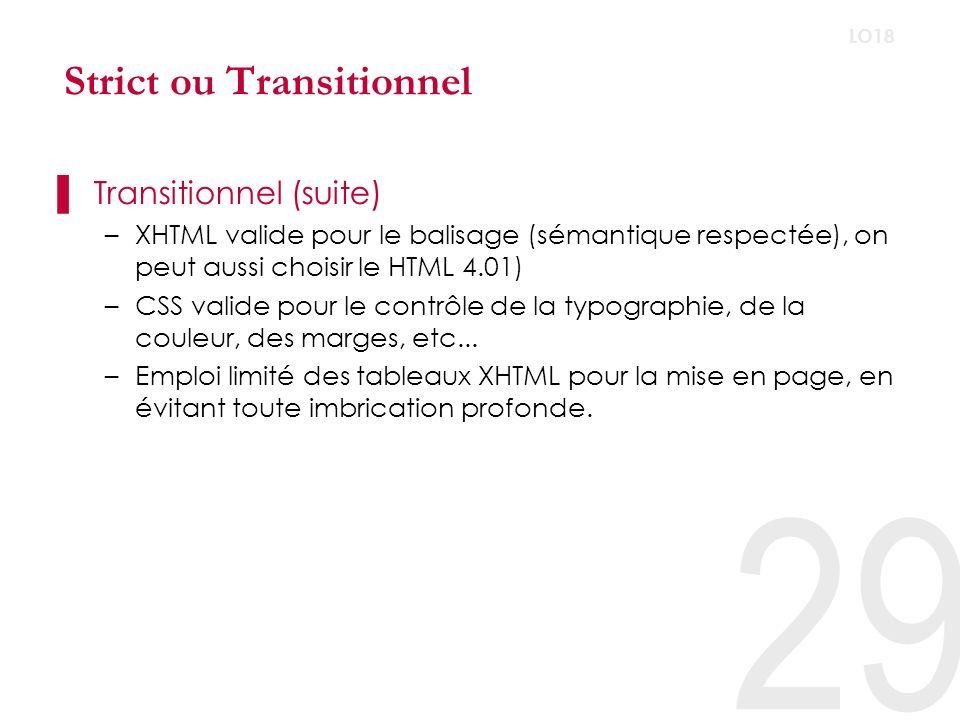 XHTML Strict –Séparation complète de la structure, de la présentation et du comportement –CSS valide pour la mise en page, les tableaux ne sont utilisés que dans leurs but dorigine : la présentation de données tabulaires.