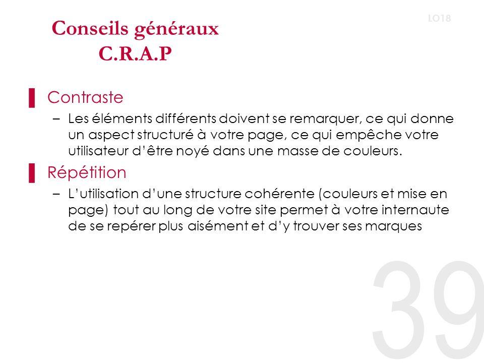 Conseils généraux C.R.A.P Alignement –Chaque éléments de la page à besoin dêtre visuellement connecté à quelque chose dautre.