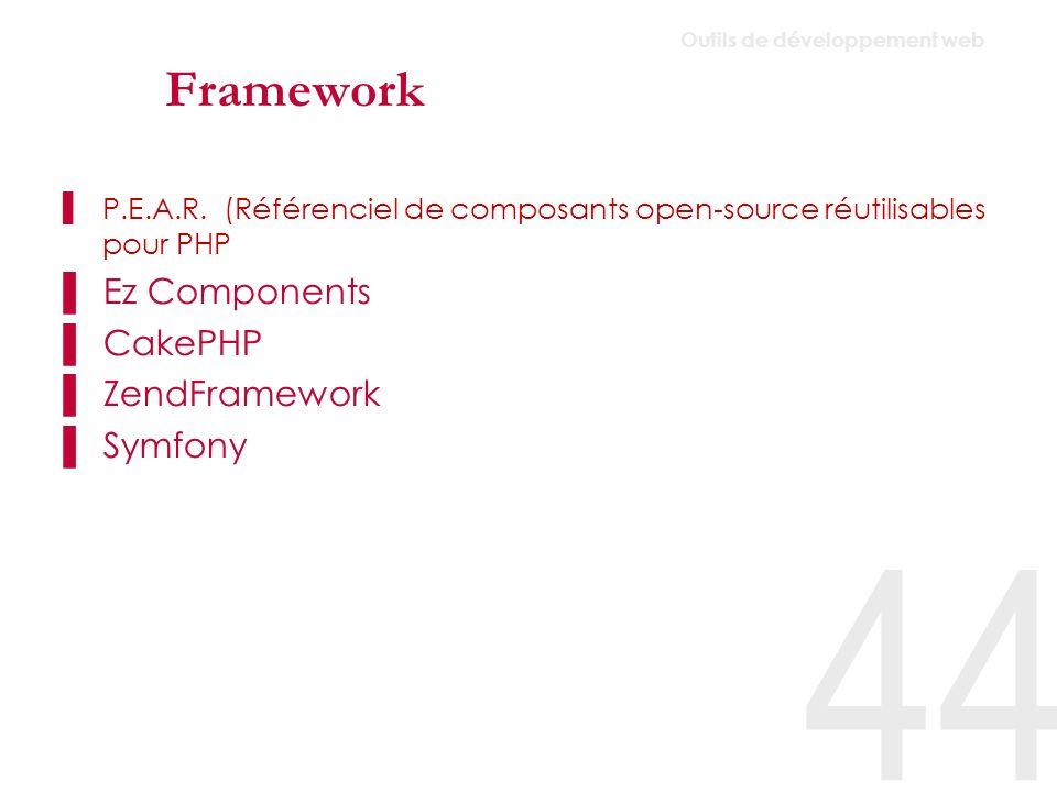 CMS/CMF (open-source) Vastes choix, presque 900 (891 le 21/03/07) projets évalués sur www.cmasmatrix.org www.cmasmatrix.org Outils retenus permettant la création de projets de toutes tailles (technologies serveurs variées : PHP, J2EE) Dotclear Wordpress Textpattern SPIP Modx typolight Joomla Silverstripe Typo3 Ezpublish Jahia Alfresco Infoglue Umbraco 45 Outils de développement web