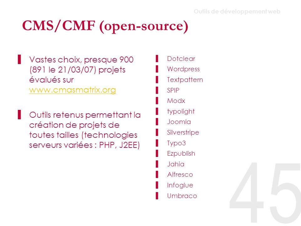 CMS/CMF Dotclear Wordpress –Il s agit d un système de gestion de blog mais grâce à ses nombreuses fonctionnalités (parmi lesquelles la possibilité de créer et gérer facilement des pages statiques), WordPress peut aussi convenir à la gestion d un site classique.