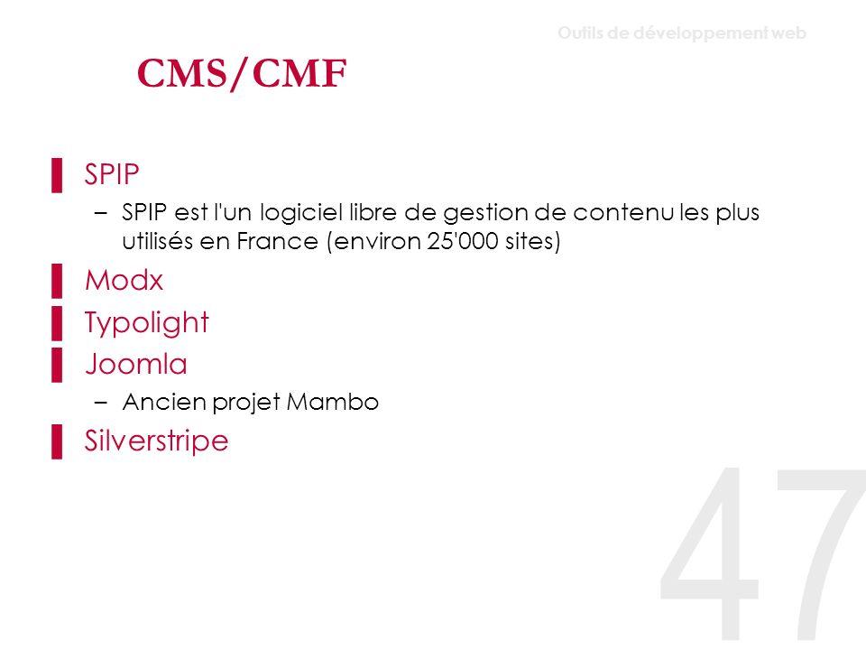 CMS/CMF Typo3 Ezpublish Jahia Alfresco Infoglue Umbraco (CMS.net gratuit) 48 Outils de développement web