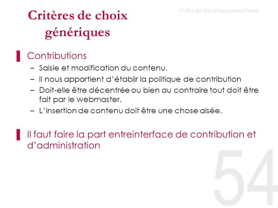 Critères de choix génériques Editeur html –Léditeur doit être configurable et flexible.