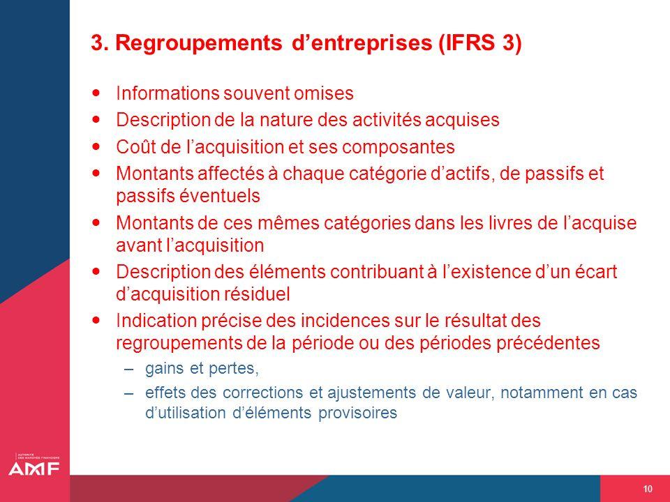 10 3. Regroupements dentreprises (IFRS 3) Informations souvent omises Description de la nature des activités acquises Coût de lacquisition et ses comp