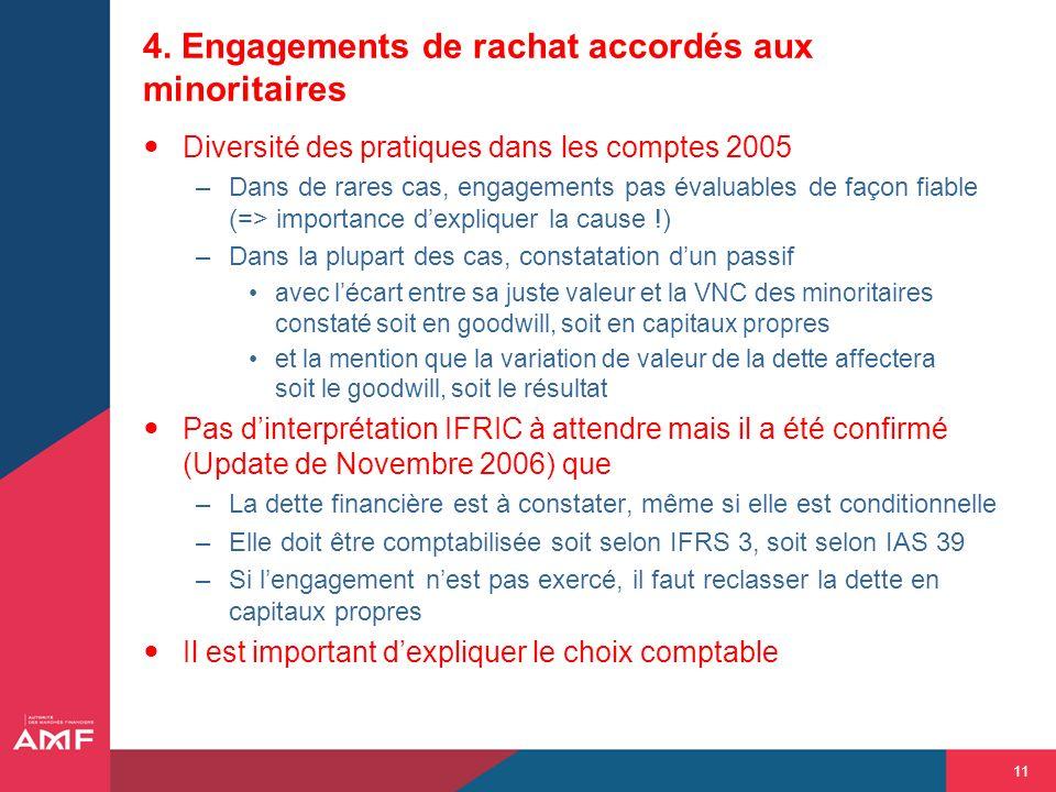11 4. Engagements de rachat accordés aux minoritaires Diversité des pratiques dans les comptes 2005 –Dans de rares cas, engagements pas évaluables de