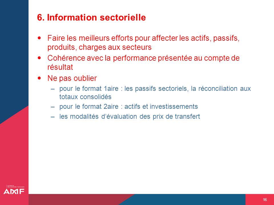 16 6. Information sectorielle Faire les meilleurs efforts pour affecter les actifs, passifs, produits, charges aux secteurs Cohérence avec la performa