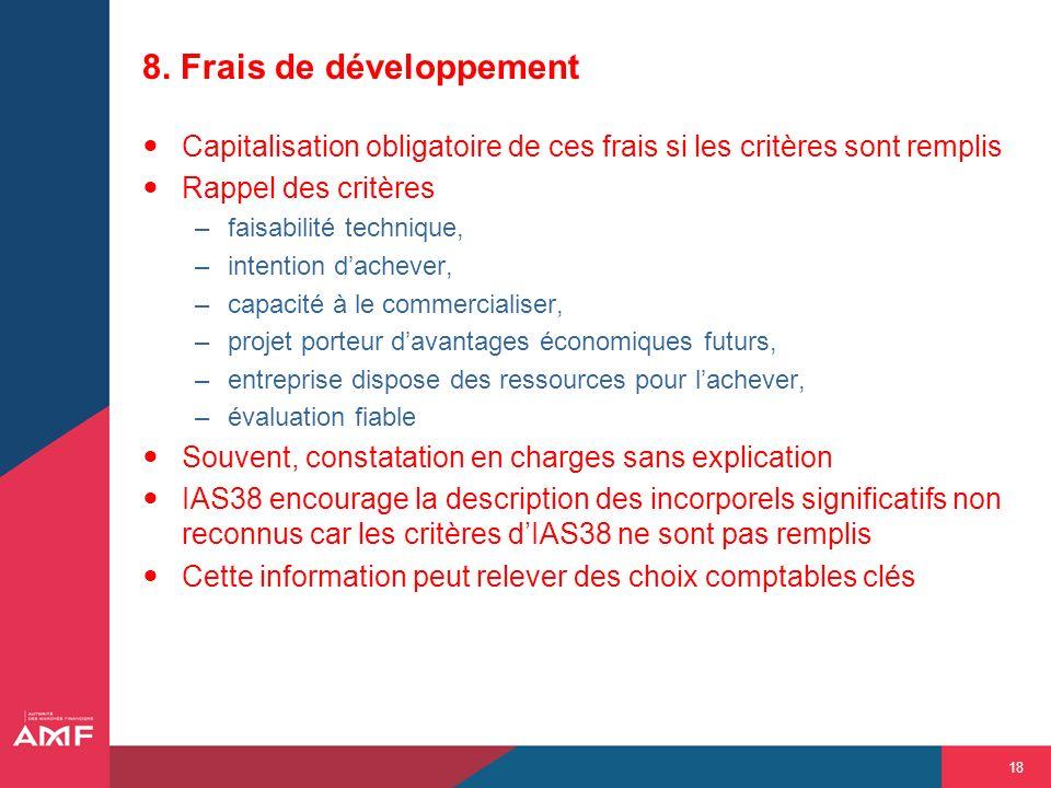 18 8. Frais de développement Capitalisation obligatoire de ces frais si les critères sont remplis Rappel des critères –faisabilité technique, –intenti