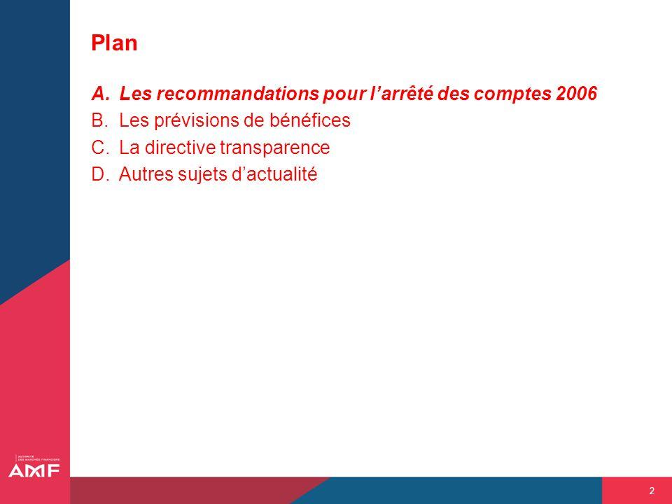 2 Plan A.Les recommandations pour larrêté des comptes 2006 B.Les prévisions de bénéfices C.La directive transparence D.Autres sujets dactualité