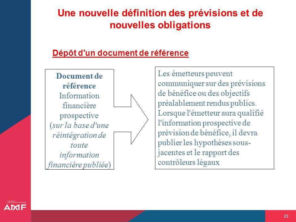 23 Une nouvelle définition des prévisions et de nouvelles obligations Dépôt d'un document de référence Document de référence Information financière pr