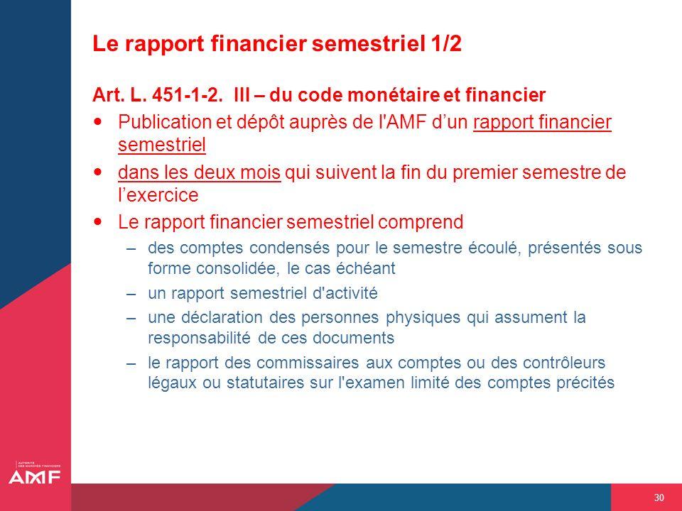 30 Le rapport financier semestriel 1/2 Art. L. 451-1-2. III – du code monétaire et financier Publication et dépôt auprès de l'AMF dun rapport financie
