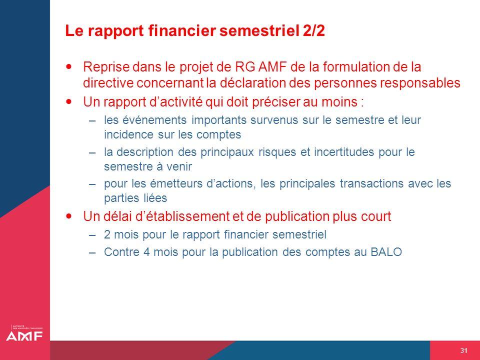 31 Le rapport financier semestriel 2/2 Reprise dans le projet de RG AMF de la formulation de la directive concernant la déclaration des personnes resp
