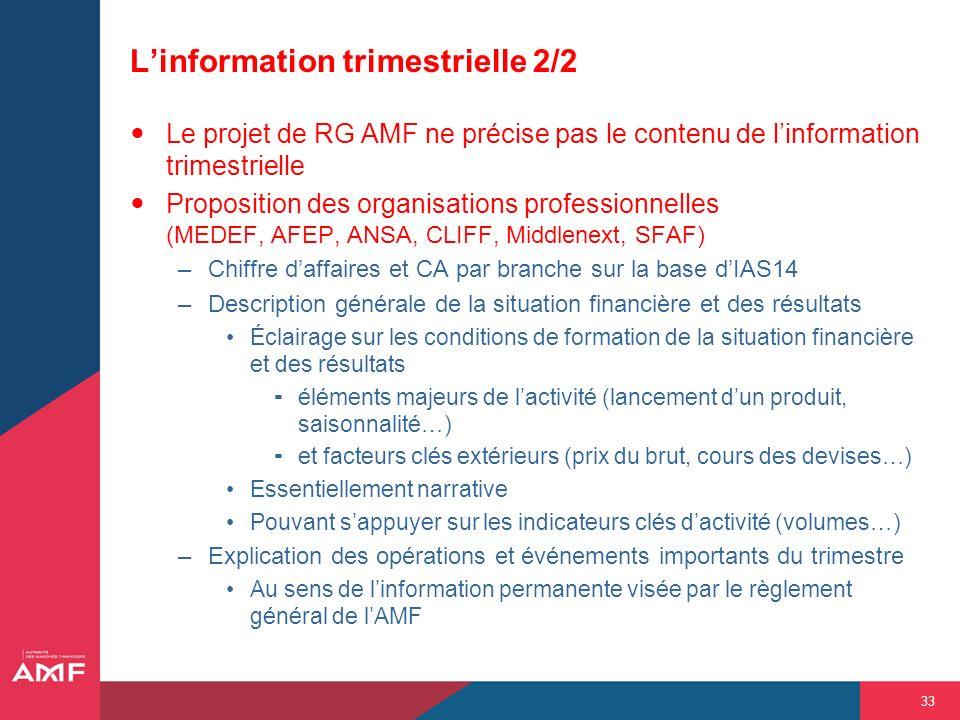 33 Linformation trimestrielle 2/2 Le projet de RG AMF ne précise pas le contenu de linformation trimestrielle Proposition des organisations profession