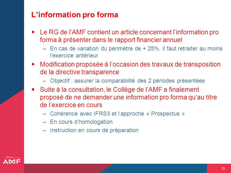 35 Linformation pro forma Le RG de lAMF contient un article concernant linformation pro forma à présenter dans le rapport financier annuel –En cas de