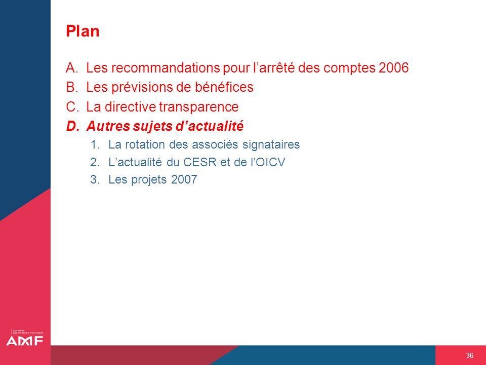 36 Plan A.Les recommandations pour larrêté des comptes 2006 B.Les prévisions de bénéfices C.La directive transparence D.Autres sujets dactualité 1.La