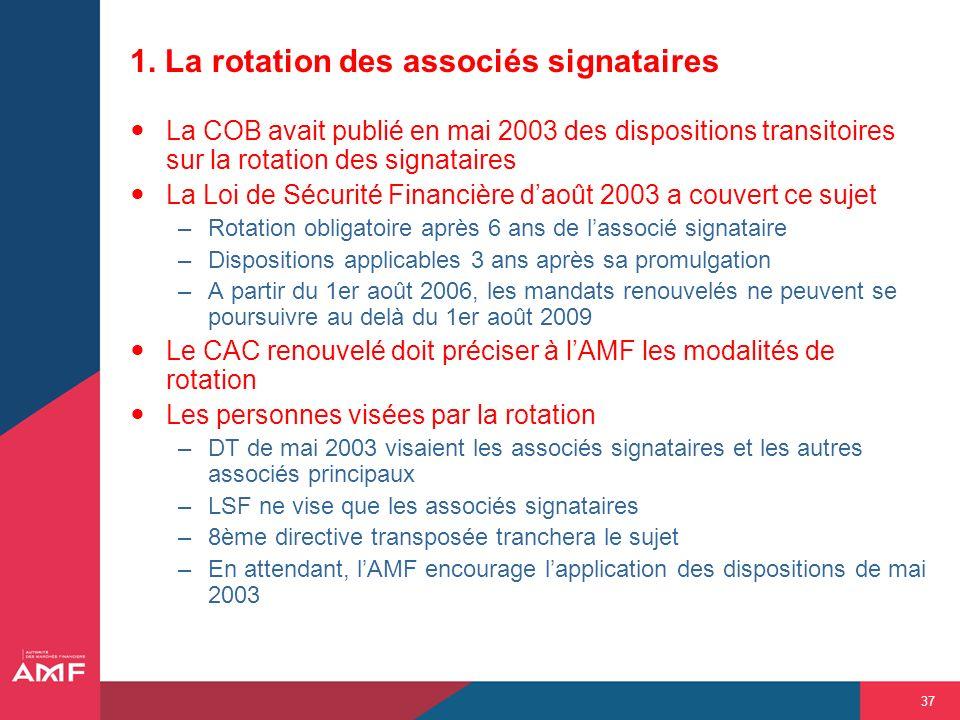 37 1. La rotation des associés signataires La COB avait publié en mai 2003 des dispositions transitoires sur la rotation des signataires La Loi de Séc