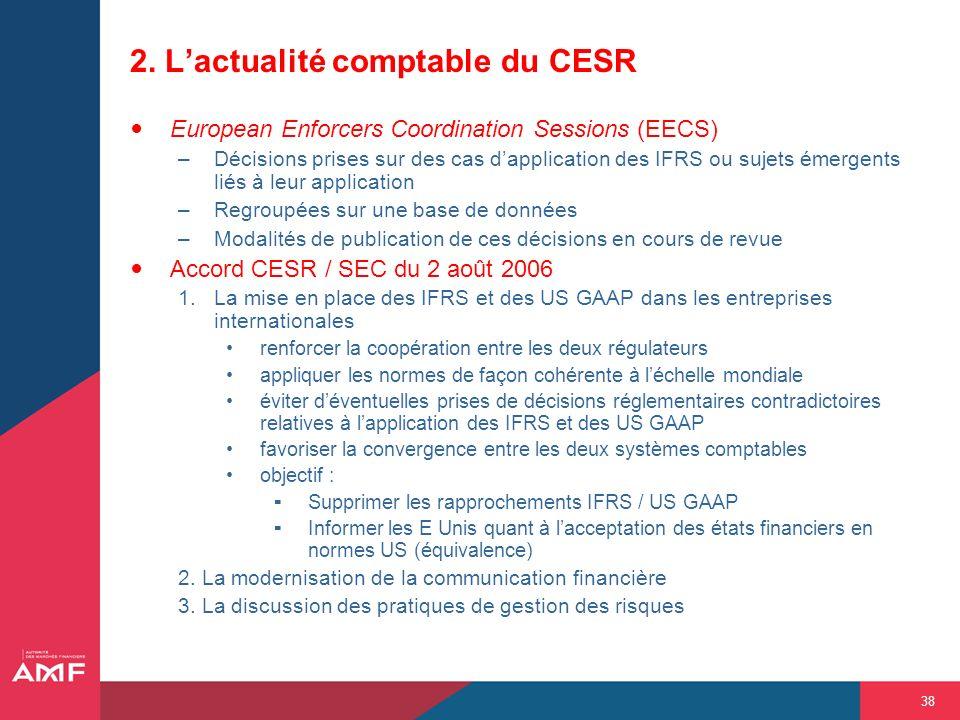 38 2. Lactualité comptable du CESR European Enforcers Coordination Sessions (EECS) –Décisions prises sur des cas dapplication des IFRS ou sujets émerg