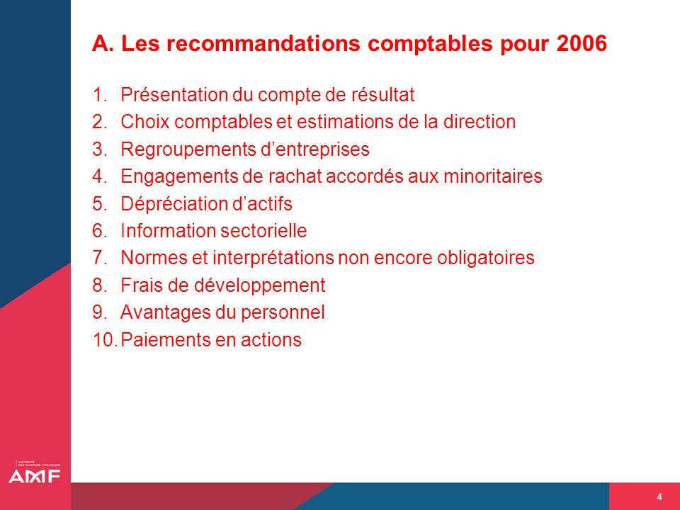 4 A. Les recommandations comptables pour 2006 1.Présentation du compte de résultat 2.Choix comptables et estimations de la direction 3.Regroupements d