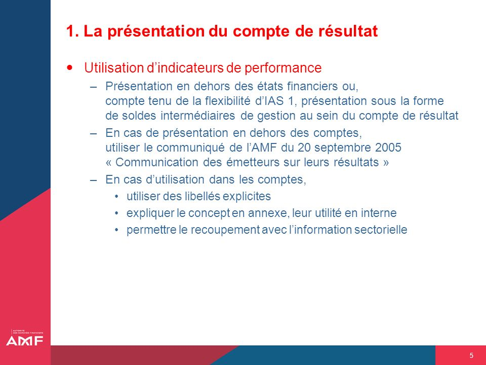 5 1. La présentation du compte de résultat Utilisation dindicateurs de performance –Présentation en dehors des états financiers ou, compte tenu de la