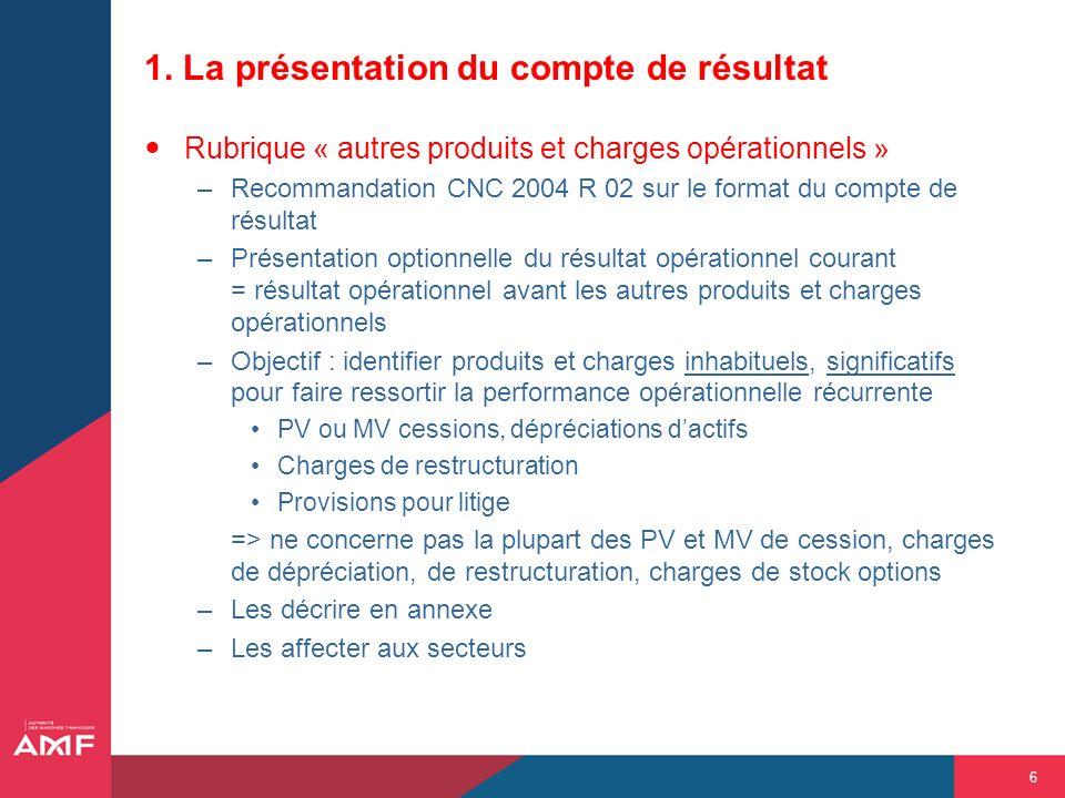 6 1. La présentation du compte de résultat Rubrique « autres produits et charges opérationnels » –Recommandation CNC 2004 R 02 sur le format du compte