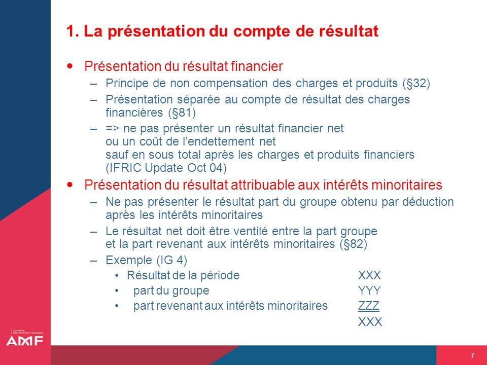 7 1. La présentation du compte de résultat Présentation du résultat financier –Principe de non compensation des charges et produits (§32) –Présentatio