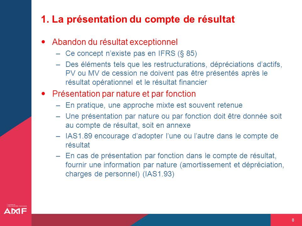 8 1. La présentation du compte de résultat Abandon du résultat exceptionnel –Ce concept nexiste pas en IFRS (§ 85) –Des éléments tels que les restruct