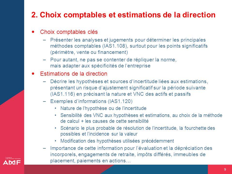 9 2. Choix comptables et estimations de la direction Choix comptables clés –Présenter les analyses et jugements pour déterminer les principales méthod