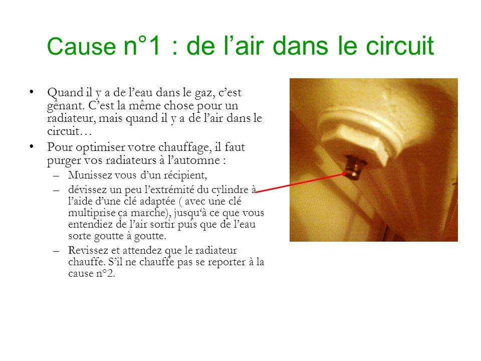 Cause n°1 : de lair dans le circuit Quand il y a de leau dans le gaz, cest gênant. Cest la même chose pour un radiateur, mais quand il y a de lair dan