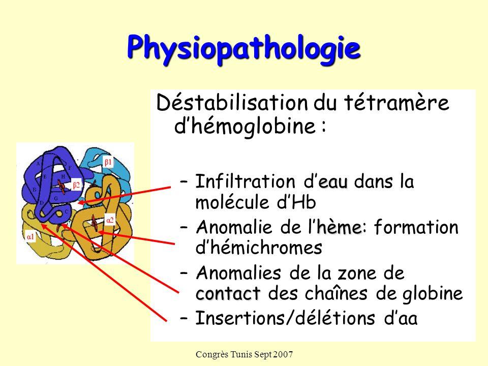 Congrès Tunis Sept 2007 Physiopathologie Déstabilisation du tétramère dhémoglobine : eau –Infiltration deau dans la molécule dHb hème –Anomalie de lhè